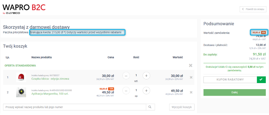 WAPRO B2C konfiguracja kwot darmowej dostawy